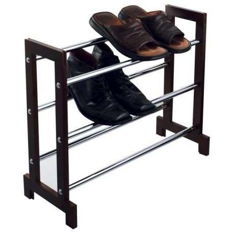Shoe Rack 3 Tier Expanding Chrome & Wood