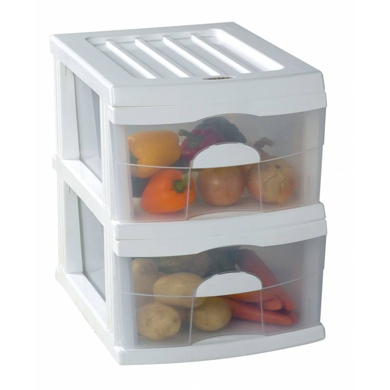 Plastic A3 Unit White 2 Drawer 44x34x45cm