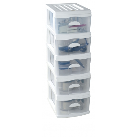 Plastic A3 Unit White 5 Drawer 44x34x106cm