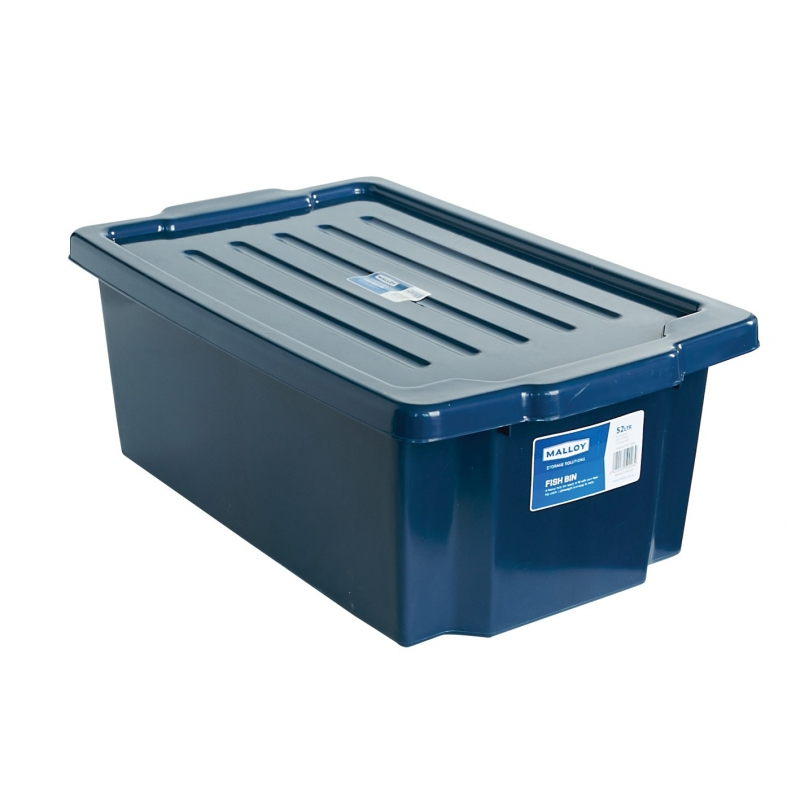Fish Bin 52L with Lid Blue