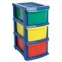 Plastic A3 Unit 3 Drawer Coloured