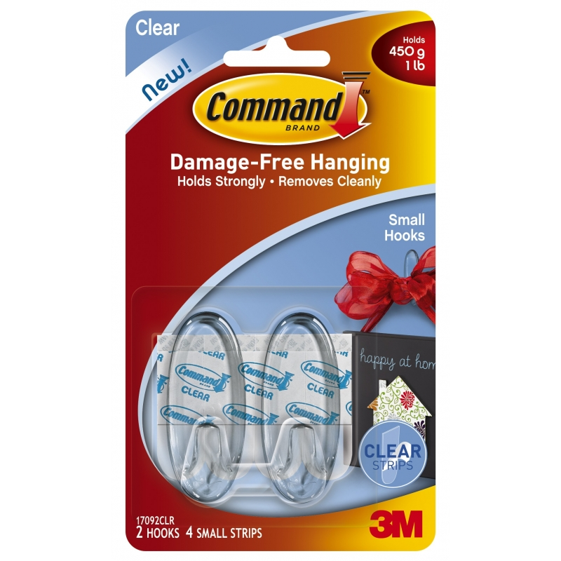 Command Utensil Hooks Clear Small 3 Pack