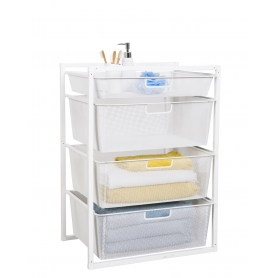 Mesh Drawer Baskets White 4 Tier