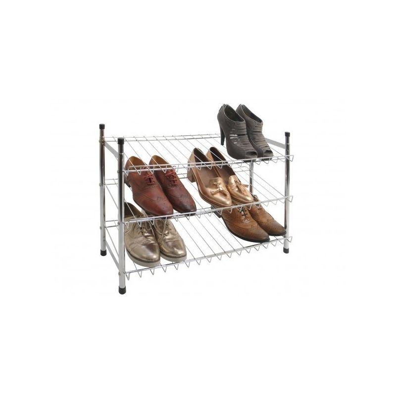 Chrome 3 Tier Shoe Rack