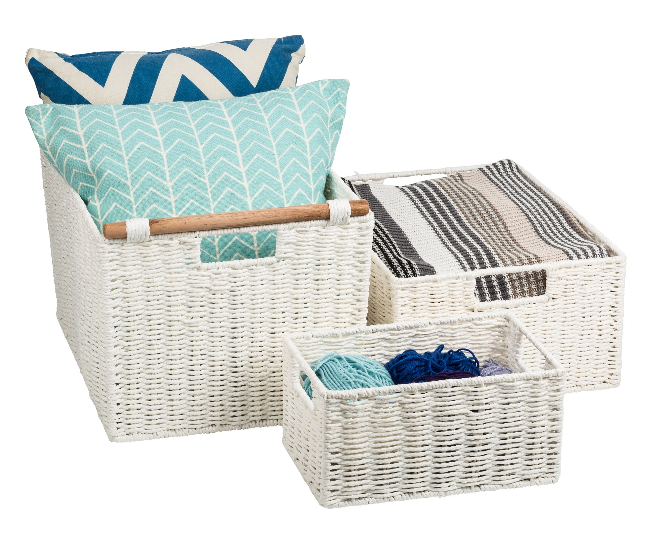 Fabric Laundry Hamper Nz: Pastiche Rope Basket White Large From Storage Box