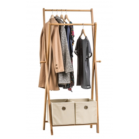 Bamboo Clothes Rack with Drawers