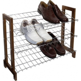 Shoe Rack 3 Shelf Chrome Wire Sloping