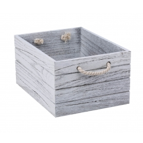 White Wash Crate Wooden Large
