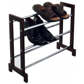 Chrome & Wood Expanding 3 Tier Shoe Rack
