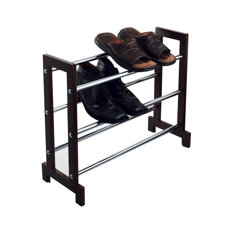 Shoe Rack 3 Tier Expanding Chrome & Wood