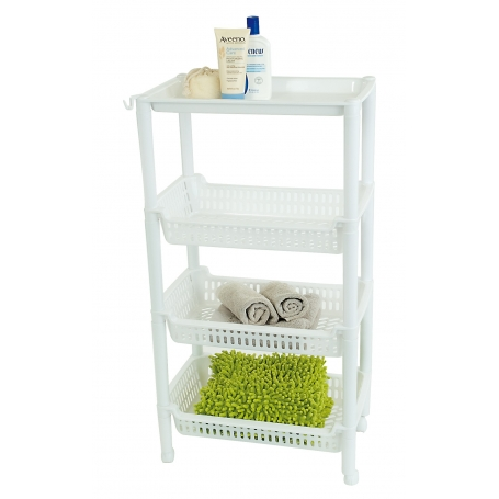 Trolley 3 Tier 29x46x86cm White Plastic
