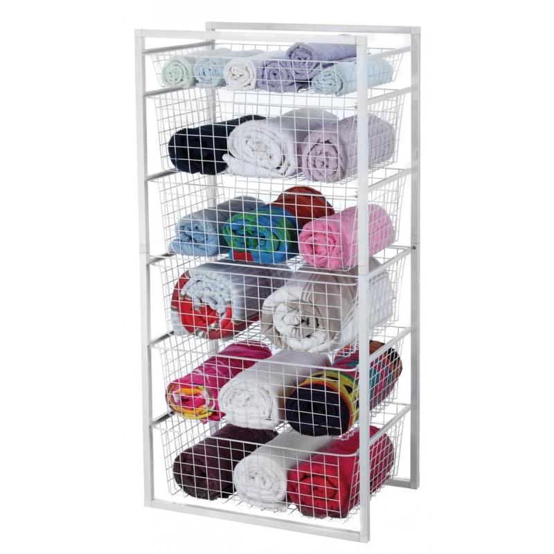 Basket Storage System 6 Tier 116.5x55.5x41.5cm