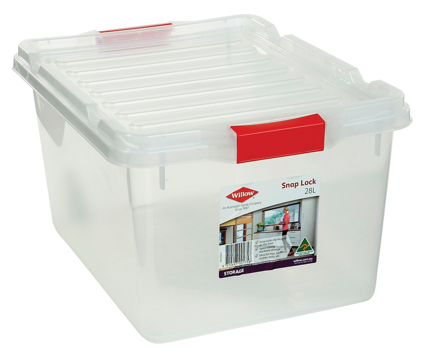 Willow Storage Box 28L Snap Lock Lid from Storage Box