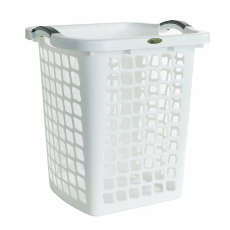Laundry Hamper White with Grey Handles