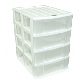 Taurus 4 Drawer Desktop Organiser White