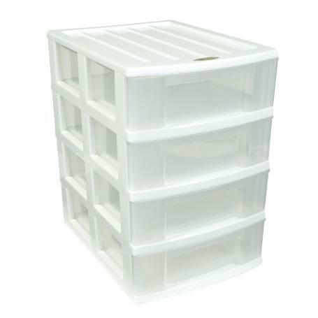 Taurus 4 Drawer Desktop Organiser White