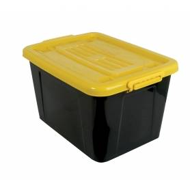 Rolling Box 53L with Lid Black/Yellow