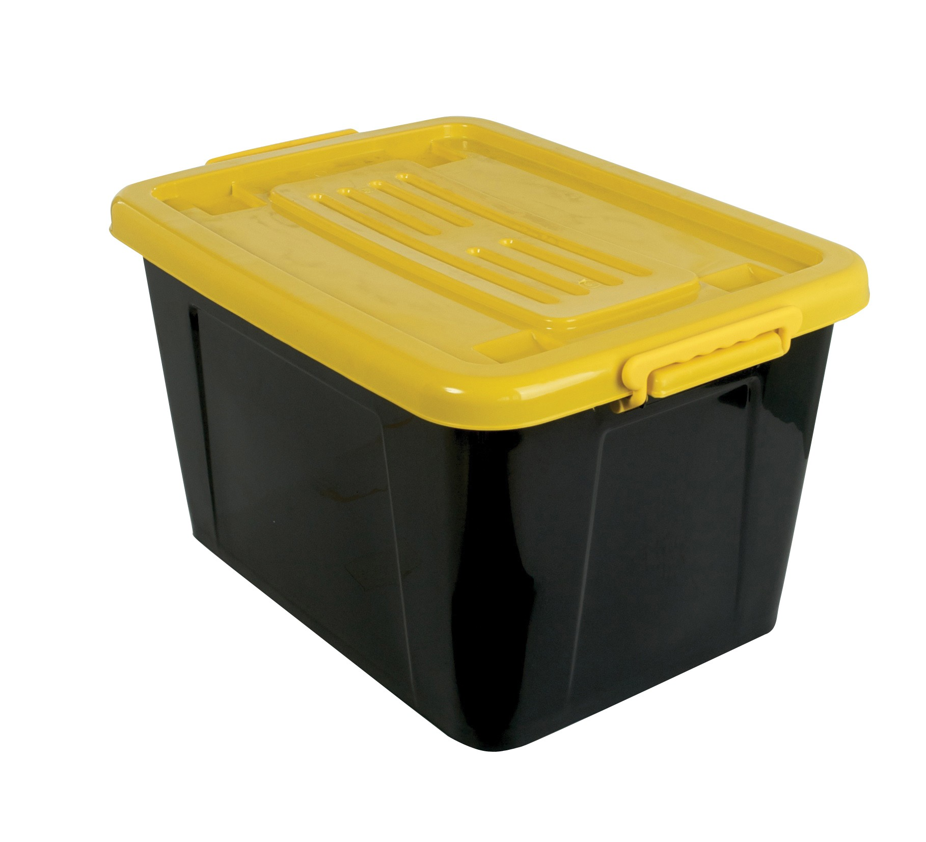Rolling Box 53l With Lid Black Yellow From Storage Box