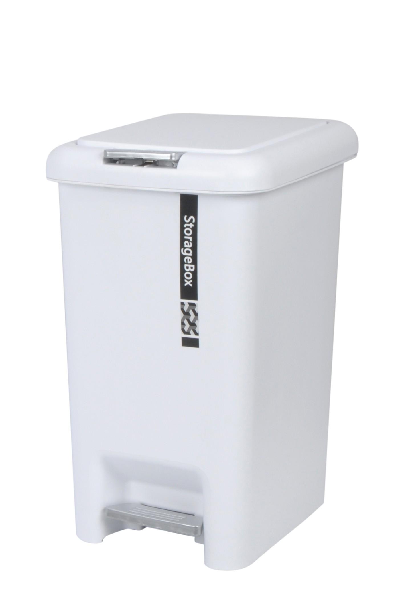 Plastic Pedal Bin 10l White From Storage Box