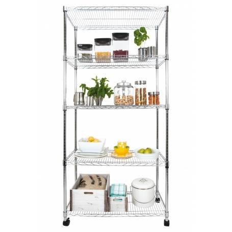 Eurowire 5 Tier Chrome Shelf with Lockable Wheels