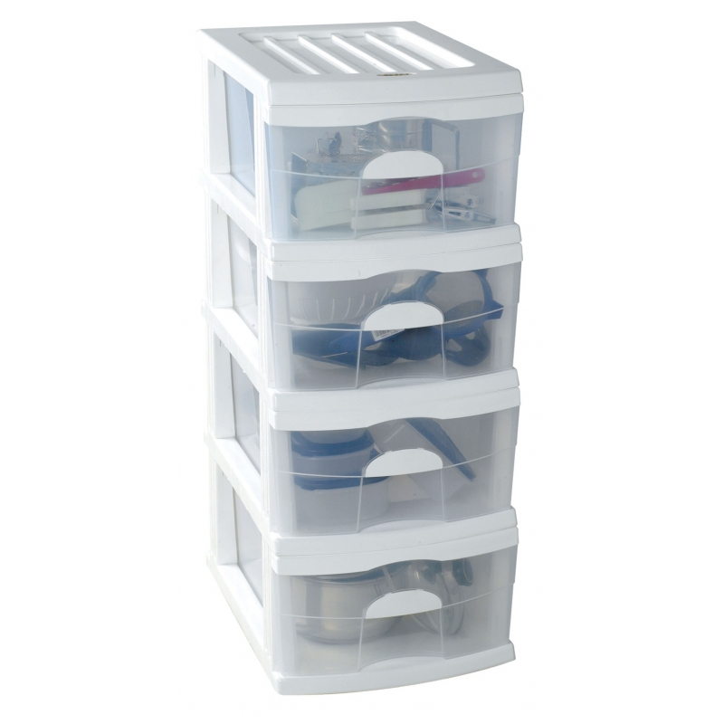 Plastic A3 Unit White 4 Drawer 44x34x88.5cm
