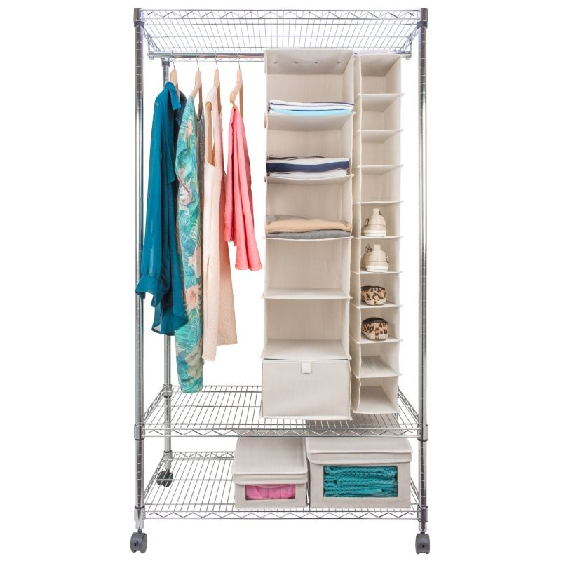 Eurowire Wardrobe with Garment Rack and Shelves