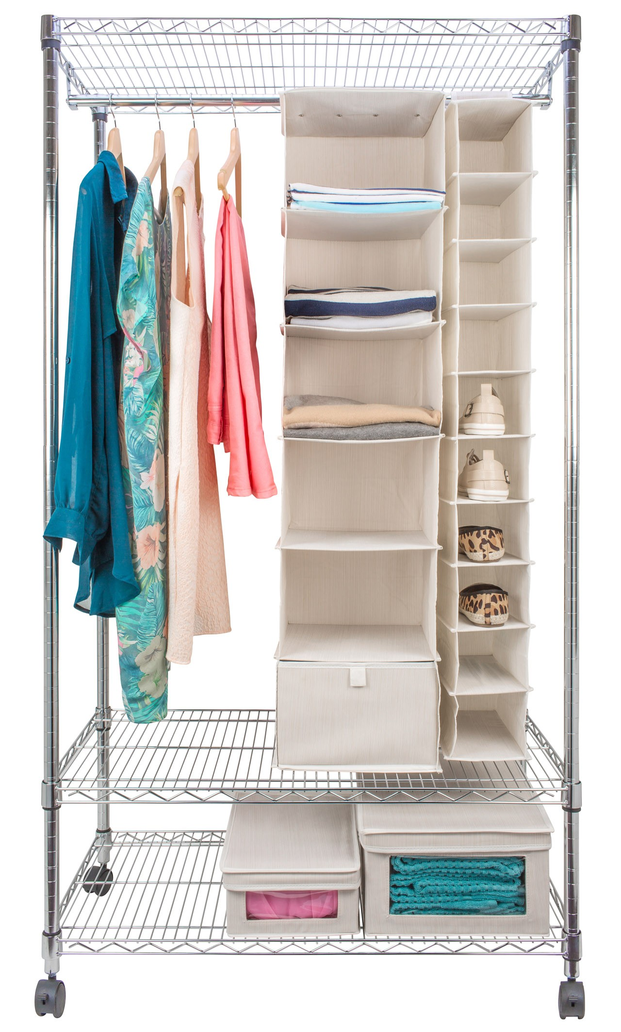 Eurowire Wardrobe With Garment Rack And Shelves From