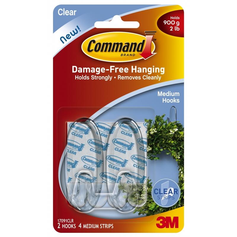 Command Utensil Hooks Clear Medium 2 Pack