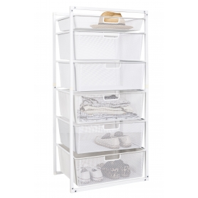 Wire Drawer Baskets White 6 Tier