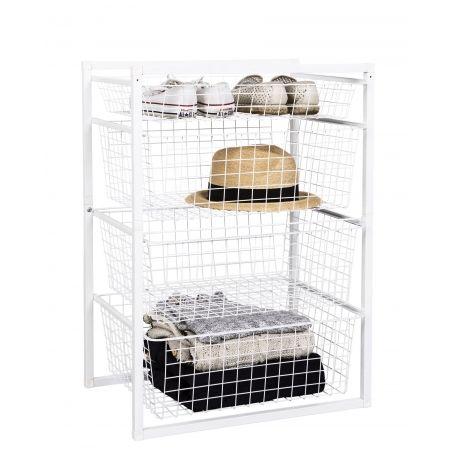 Wire Basket Drawer Unit 4 Tier