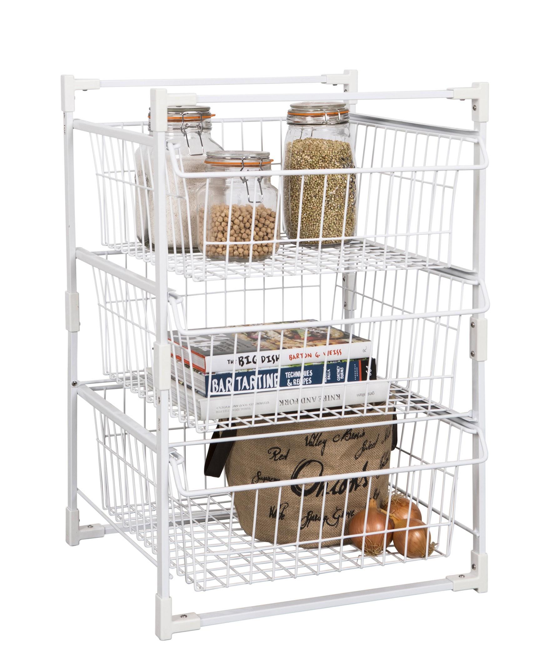 wire basket drawer unit 3 tier from storage box. Black Bedroom Furniture Sets. Home Design Ideas