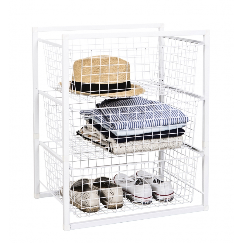 Wire Basket Storage Unit 3 Drawers
