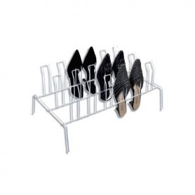 Shoe Rack 9 Pair White Wire