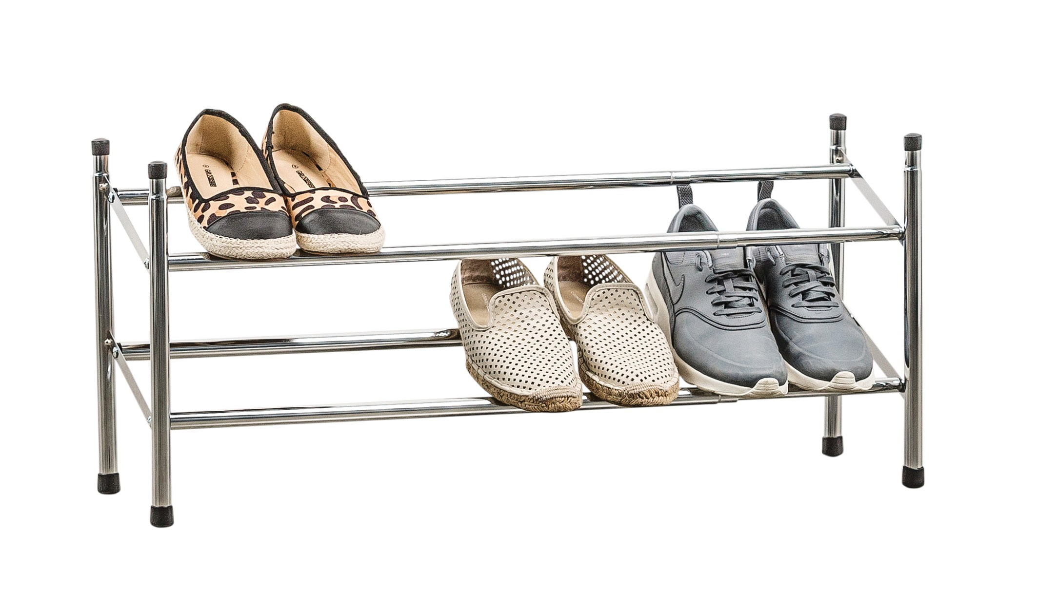 Shoe Rack 2 Tier Chrome Expanding From Storage Box