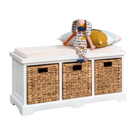 White Bench with Cushion Seat & Baskets