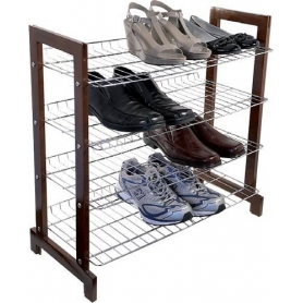 Shoe Rack 4 Tier Chrome & Wood