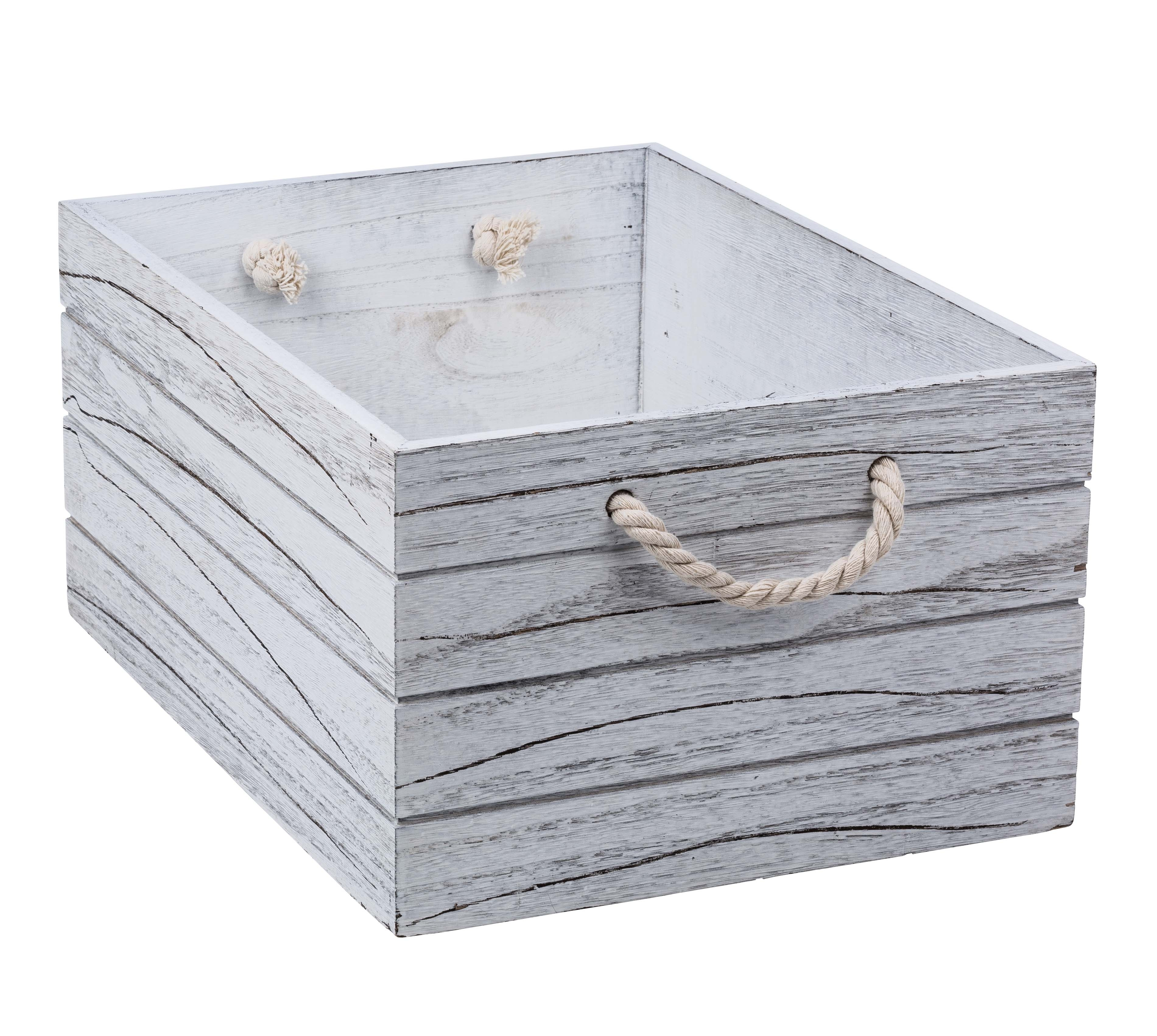White Wash Wooden Crate Xtra Large From Storage Box