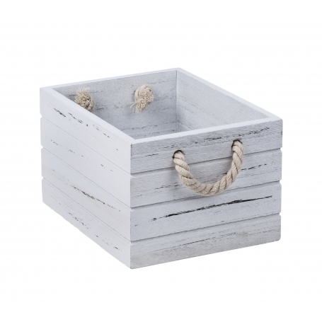 White Wash Wooden Crate Small