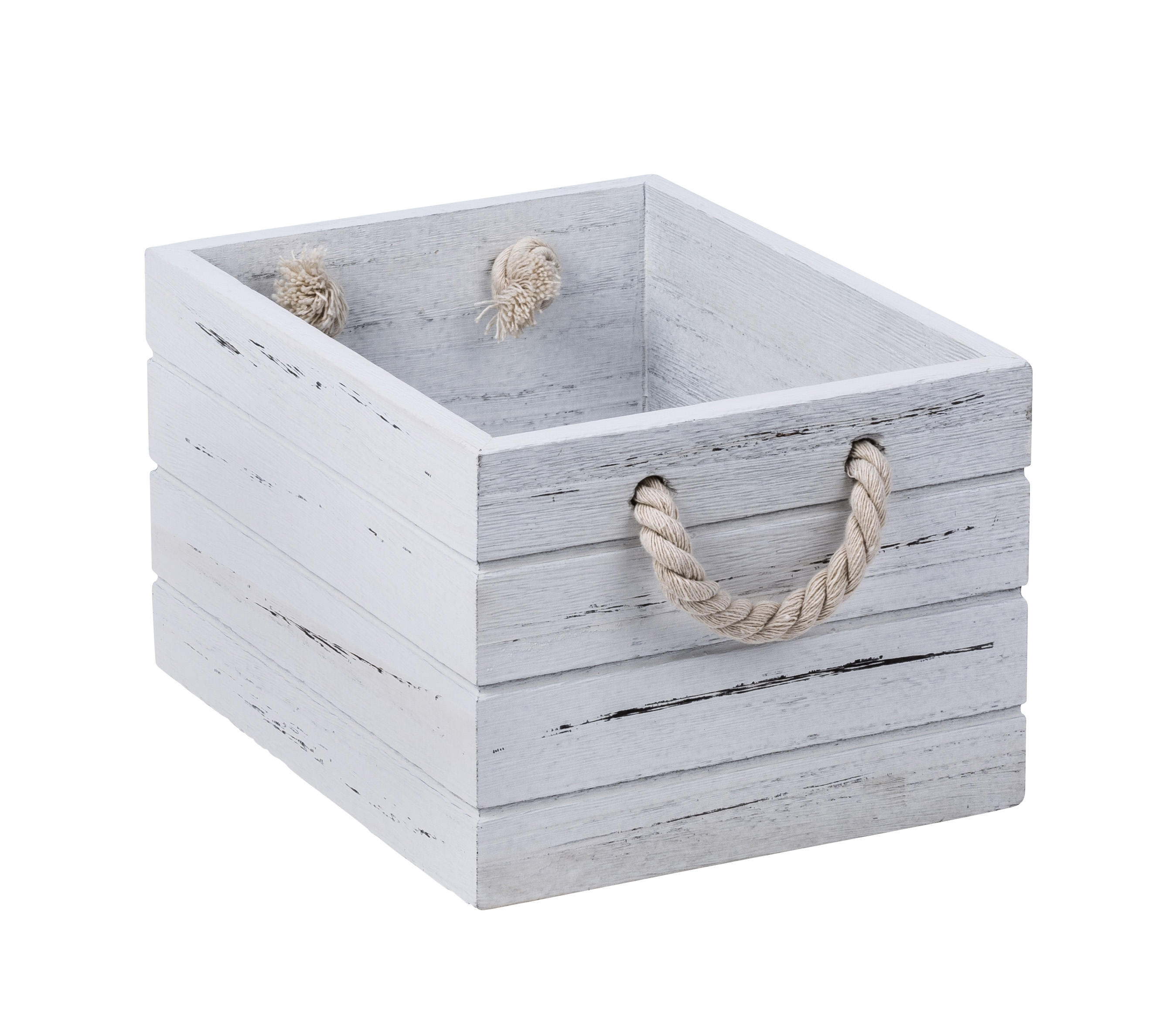 White Wash Wooden Crate Small From Storage Box
