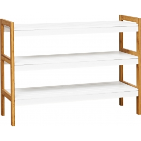 Shoe Rack 3 Tier White & Bamboo