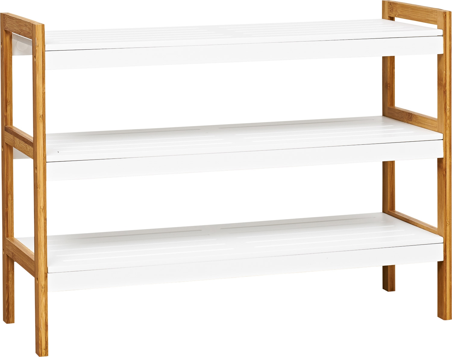 Shoe Rack 3 Tier White Bamboo From Storage Box