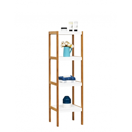Shelf 4 Tier White and Bamboo