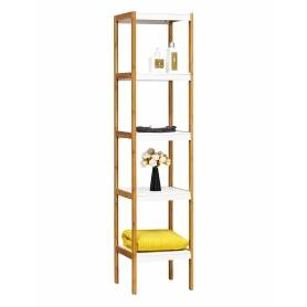 Shelf 5 Tier White and Bamboo