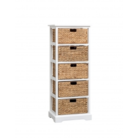 White Cabinet with 5 Baskets