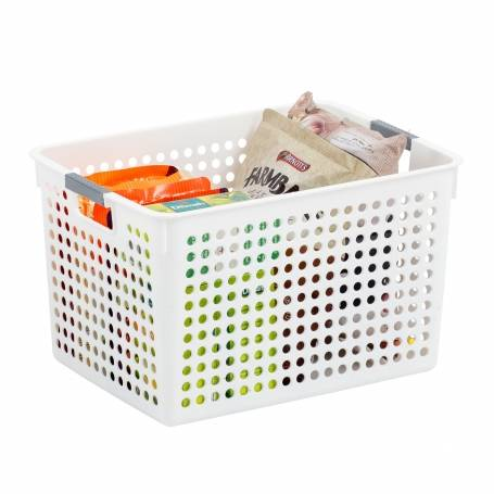 Basket White With Handles 077136