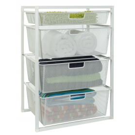Wire Drawer Baskets White 4 Tier