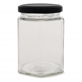 Glass Jar 280ml Hexagonal