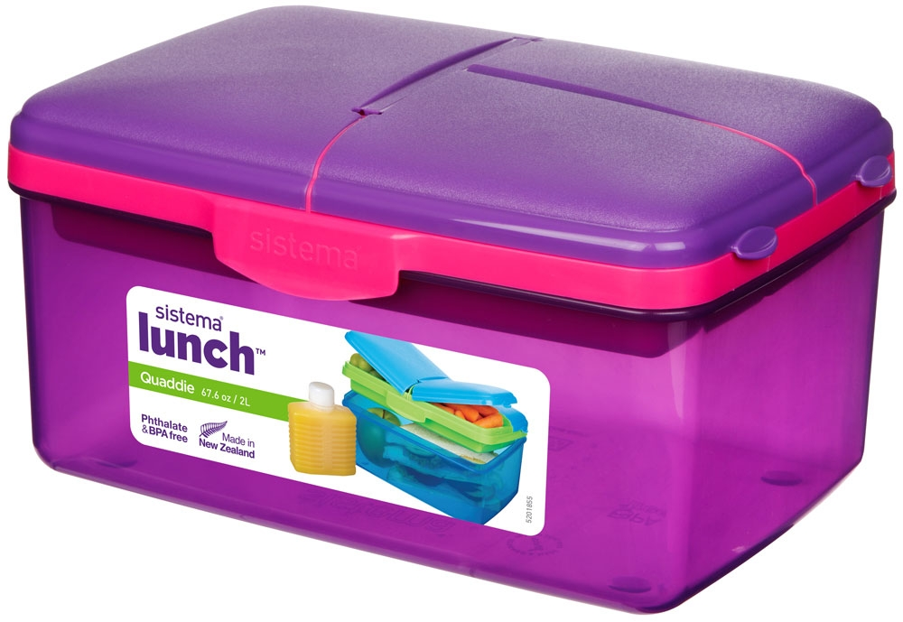 Sistema Lunch Box 2l Quaddie With Bottle From Storage Box