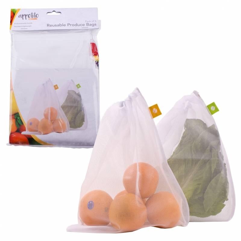 Mesh Produce Bags Set of 5