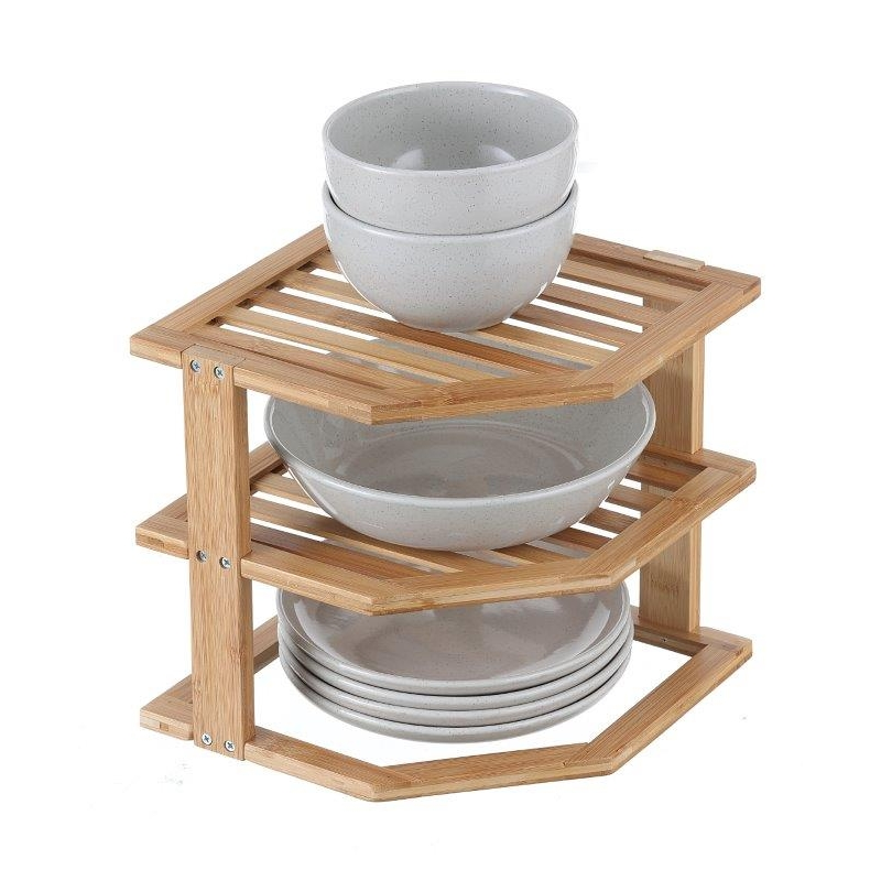 Plate Stand 2 Tier Bamboo